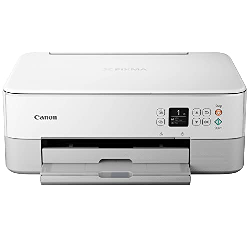"""Canon PIXMA TS Series All-in-One Color Wireless Bluetooth Inkjet Printer - White - Copier/Printer/Scanner - 13.0 ipm, Auto 2-Sided Printing, Voice-Activated, 1.44"""" OLED"""