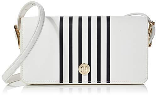Tommy Hilfiger Honey Flap Crossover Stripe, Borse Donna, Bianco (Bright White), 1x1x1 centimeters (W x H x L)