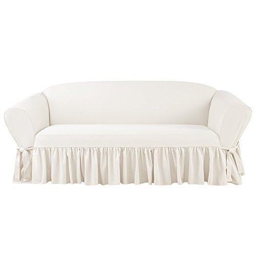 SURE FIT Essential Twill One Piece Ruffled Box Cushion Sofa Slipcover with Scotchgard - White