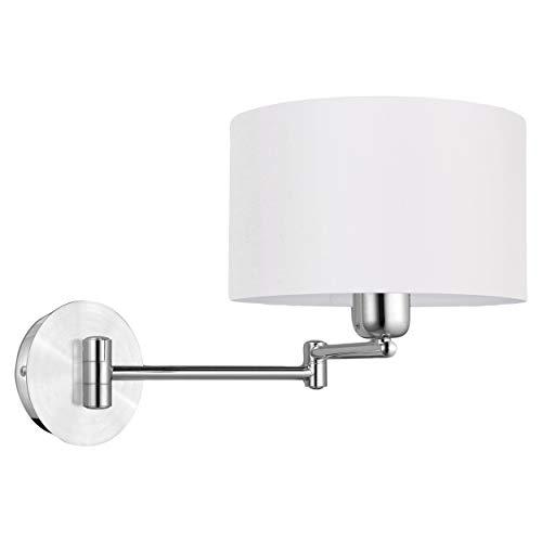 EGLO Wandlampe Halva, 1 flammige Wandleuchte mit Touch, dimmbar, schwenkbar, Wandleuchte innen aus Aluminium und Textil, Wohnzimmerlampe in chrom, Beige, Flurlampe mit E27 Fassung