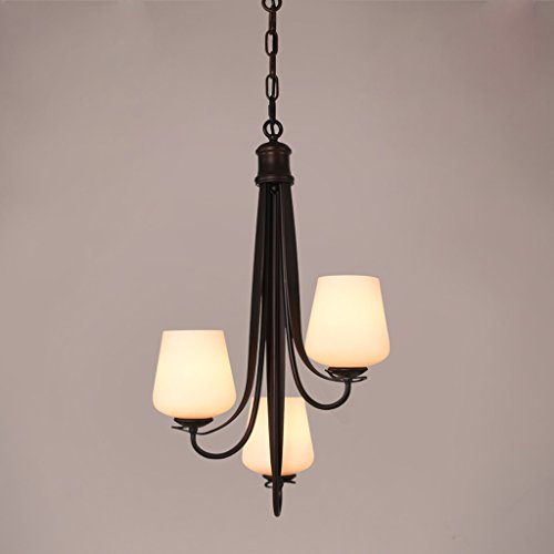 Jggh Rustica lampara Techo lamparas Retro Vintage Tres-araña de Estilo Americano lámpara de Hierro de la Sala de la lámpara Retro Europea la luz del Restaurante Modernos Lámparas Escaleras Sim