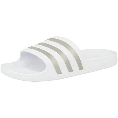 Adidas Unisex Erwachsene Adilette Aqua Dusch-& Badeschuhe, Weiß (Footwear White White/Platin Metallic/Footwear White White), 39 EU