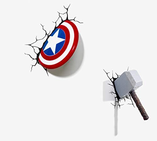 Cartoons Kinderzimmer Wandleuchten Captain America Shield + Thor Hammer 3D FX Deco Light LED Licht Schlafzimmer Nachtlichter (Captain America Shield+Thor Hammer)