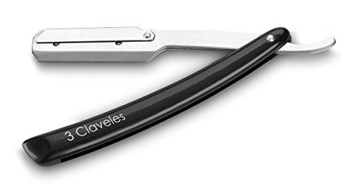 3 Claveles 27005 Navaja Hoja Intercambiable para Barbería de 24 cm, surtido: colores aleatorios