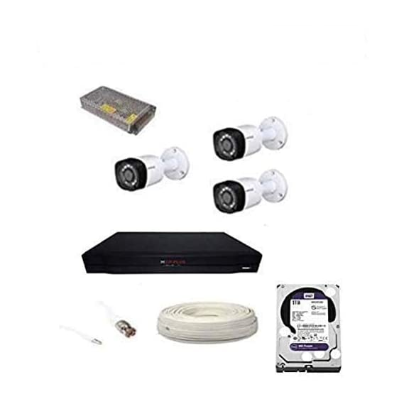 CP Plus Full HD 5MP Cameras Combo KIT 4CH HD DVR+ 3 Bullet Cameras+ 1TB Hard Disk+ Wire ROLL +Supply & All Required CONNECTORS