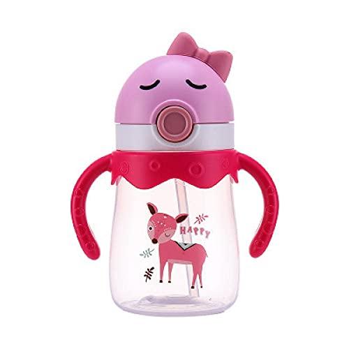 Yidieman Botella Deportiva,Botella de Agua portátil para niños de Dibujos Animados con Mango de Paja-Pink_350ML,Botellas de plástico Tritan con Filtro sin BPA