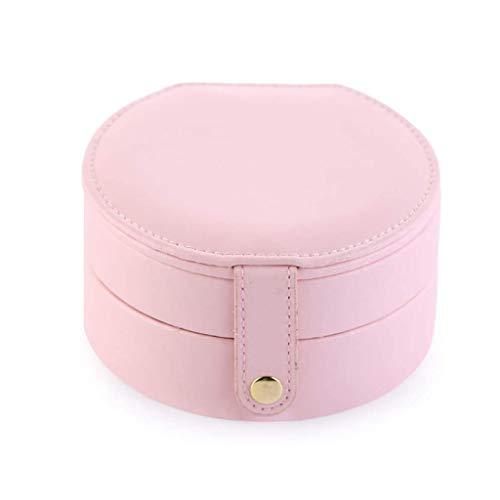 pojhf GYDSSH Caja de joyería, joyería Organizador del Recorrido Casos con Doubel Capa de Las Mujeres de Collar de Anillos aretes y Accesorios de Viaje (Color : Pink)