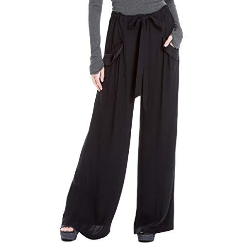 Max Studio London Womens Satin-Trim Wide Leg Dress Pants Black L