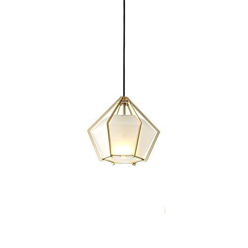 TVDCC Diamond Lámpara de acrílico esmerilado for cafetería del hotel Brillo de oro simple restaurante E14 Iluminación (Color : A)