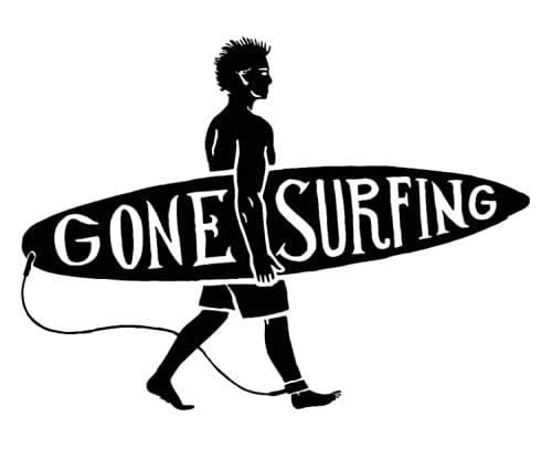Pegatina Surfera Coche | Color Negro con Tabla de Surf para los Amantes del Mar | Medidas: 17 x 13 cm