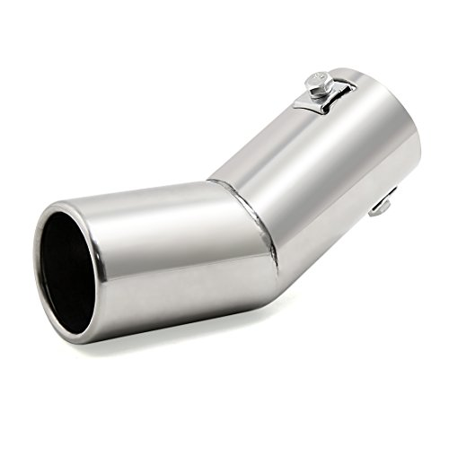 uxcell マフラーカッター ステンレス鋼 マフラー パイプ 車 クロム 曲がった 排気 テール 15mm~38mmの直径に適合 シルバートーン