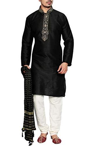 Sonisha MKP9005 Schwarz und Elfenbein Herren Kurta Pyjama Indian Suit Bollywood Sherwani (Chest 42 Inches)
