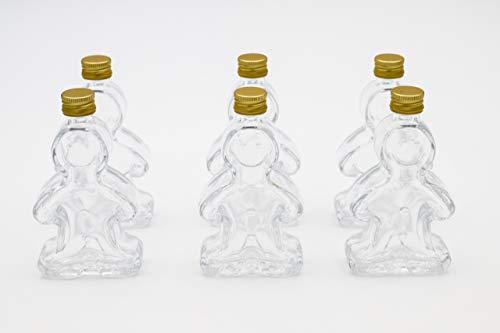 Flaschenbauer - 6 x Leere Glasflaschen 50ml Lebkuchenmann: Mini Glasflaschen mit Schraubverschluss Gold verwendbar als kleine Flaschen zum Befüllen, Leere Schnapsflaschen klein, Likörflaschen