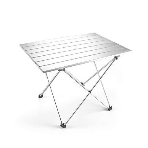Outry Lightweight Aluminum Folding Table, Portable Camp Table, Outdoor Picnic Camping Backpacking Beach Patio Collapsible Foldable Table (Silver, Medium - Unfolded: 22.2' x 15.9' x 16.1')