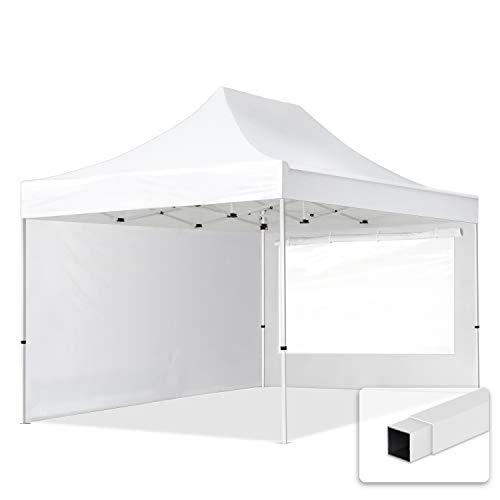 TOOLPORT 3x4,5m Faltpavillon Pavillon Partyzelt Gazebo Stahl 30mm, 2 Seitenteile, Panoramafenster, WASSERDICHT weiß