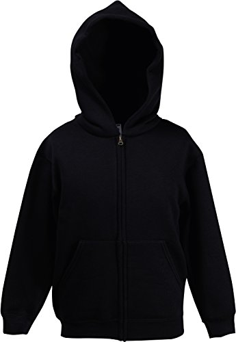 Fruit of the Loom: Kids Hooded Sweat Jacket 62-045-0, Größe:152 (12-13);Farbe:Black