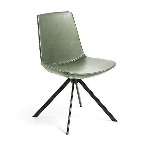 Kave Home Zeva - Silla de comedor (piel sintética, patas de acero), color verde y negro