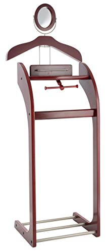 Etienne Alair Clothes Valet Stand for Men with Mirror  Beautiful Solid Hardwood Suit Hanging System with Trouser Bar, Jacket Hanger, Tray Organizer, Tie & Belt Hook and Shoe Rack, Mahogany