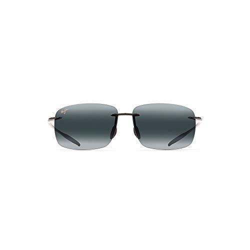 Maui Jim Breakwall Rectangular Sunglasses, Gloss Black/Neutral Grey Polarized, Medium