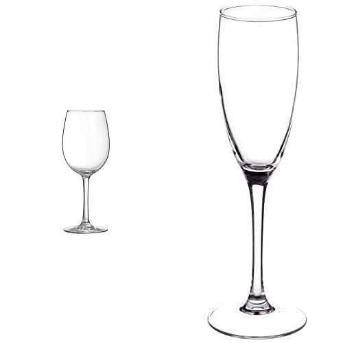 Luminarc Vina Set 6 Copas de Vino, 48cl, 8 x 8 x 22 cm, 6 Unidades + Copa de Flauta para vinos espumosos, Acero Inoxidable, 6 Copas, 17 cl