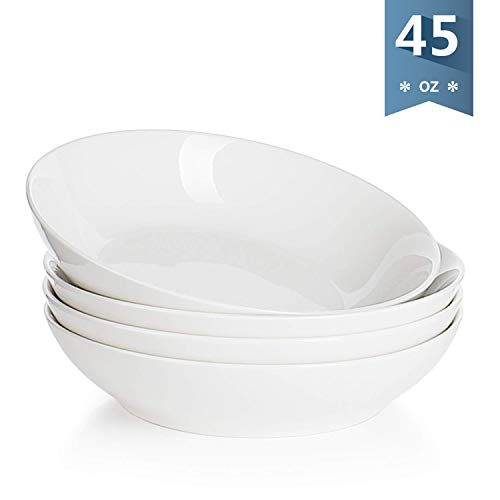 Sweese 113.101 Porcelain Large Salad Pasta Bowls - 45 Ounce 1.3 Quart - Set of 4, White