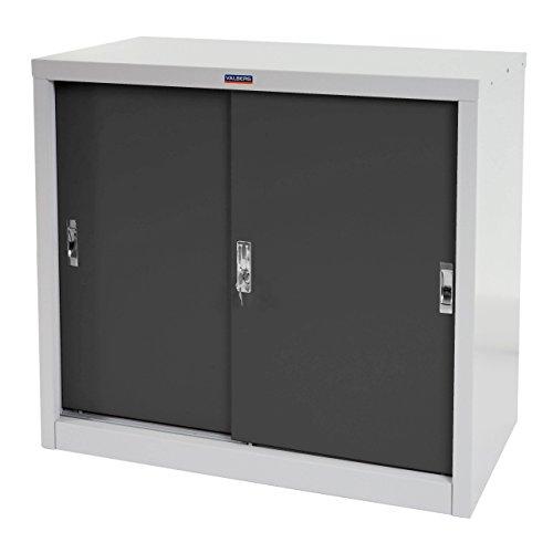 Valberg Aktenschrank T333, Metallschrank Büroschrank, 2 Schiebetüren 83x91x46cm - anthrazit