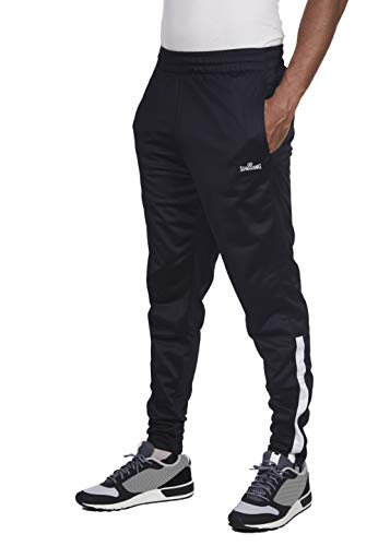 Spalding Mens Tricot Tapered Zipper Track Training Active Pants Jogger Sweatpants Black/White Medium