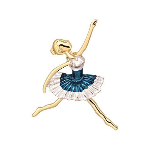 CyFe Gemaltes Ballerina-Mädchen Broschen Damen Mode Broschen für Damen Dekoration,Legierung,Blau