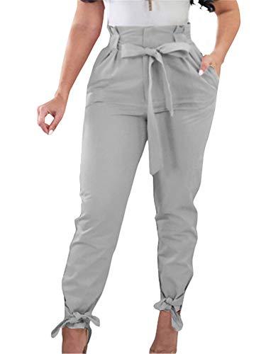 Gobles Damen-Arbeitshose, hohe Taille, Rüschen, Fliege - Grau - Mittel