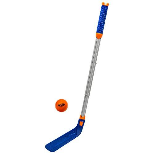NERF FLEXPLAY Kids Hockey Stick and Ball Set - Indoor & Outdoor Street Hockey Set - Adjustable Height Stick - Street Hockey Ball Included