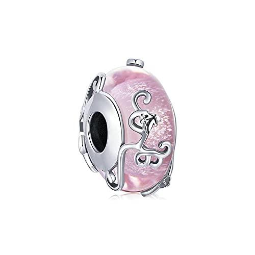LIJIAN DIY 925 Sterling Jewelry Charm Beads Pink Glass Brillante Esmaltado Twine Hand Make Original Pandora Collares Pulseras Y Tobilleras Regalos para Mujeres
