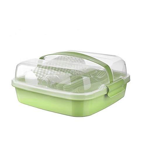 BEFA Juego de picnic para 6 personas, plástico saludable, tenedor, cuchillo, cuchara, plato, vaso, salero, cesta de pícnic, bolsa de picnic (verde)