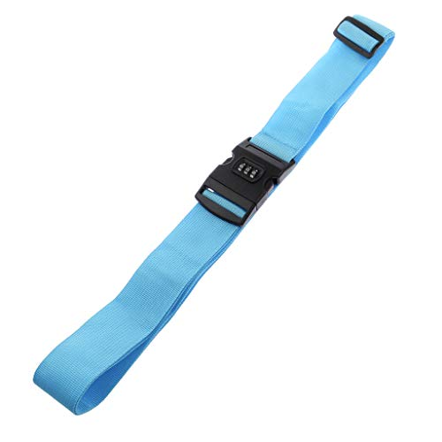 Elastic Luggage Strap 3 Digital Dial Combination Suitcase Travel Belt Accessories - 19.6'' to 37.4'' Adjustable Length (Blue)