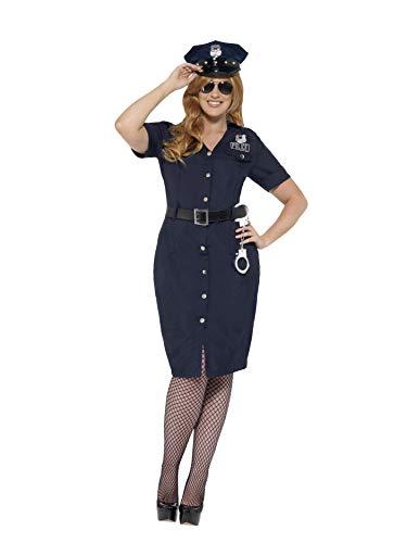 Smiffys volwassen vrouwen NYC Cop kostuum, jurk, riem en hoed, politie en overvallers, ernstig plezier