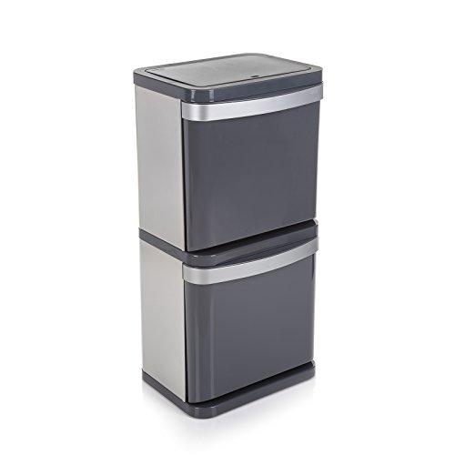 Minky Sortera 2 papperskorg, stål, grå, 60 (2 x 30 liter)