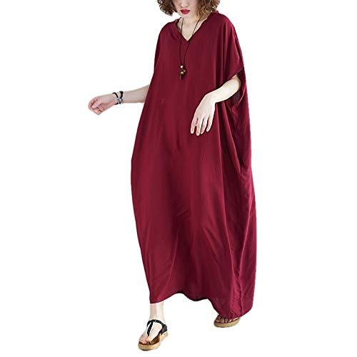 Extra Large Size Women's 210Ibs V-Neck Fat mm Cotton Long Skirt Solid Color Loose Slimming Dress Robe Red
