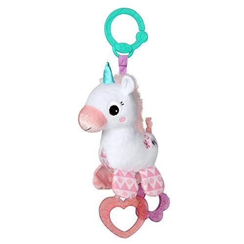 Heldere starts, speelgoed voor de kinderwagen. Eenhoorn. roze