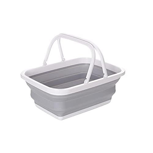 10L Faltbares Waschbecken tragbare Becken Picknick Körbe Spülbecken PP Kunststoff Multifunktion Spülpfanne mit stabilem Griff für Geschirrspülen, Camping, Wandern und Haus