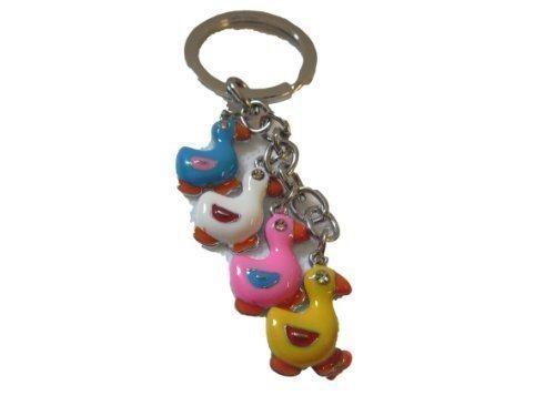 Mignon Animation de 4 canards en émail avec strass Porte-clés breloque sac à main-flashsellerz-posted de Londres uniquement Par Fat-catz-Copy-catz