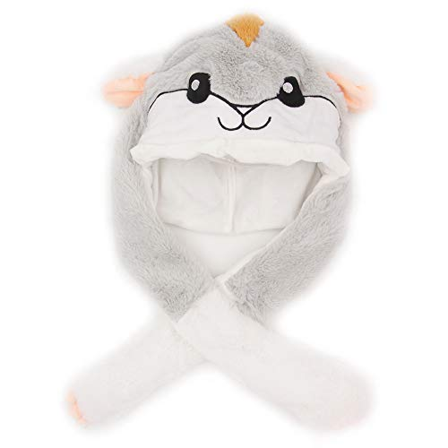 Rotumaty Hamster Plush Hat with Moving Jumping Ears, Cute Animal Hat Easter Christmas Party Cosplay Gifts