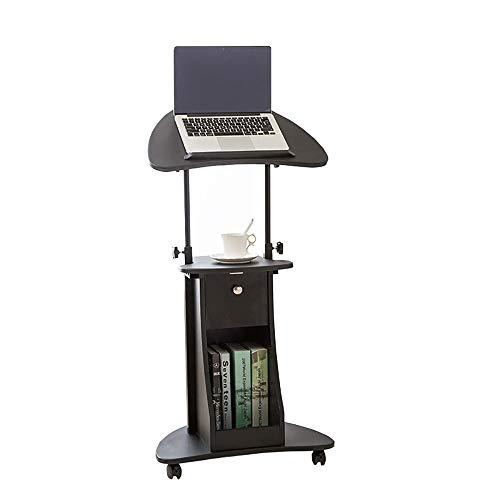TnSok Stehendes Podium Einstellbare Notebookrollenwagen Sit-to-Ständer Lehrer Podium Schreibtisch Stahlrahmen Mobil Stehen Katheder (Color : Black, Size : 55x40x116cm)
