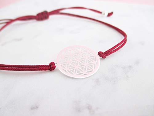 AQUAGEMS Armband mit Lebensblume 925er Sterlingsilber | Damen Schmuck | Geschenk Dunkelrot Muttertag