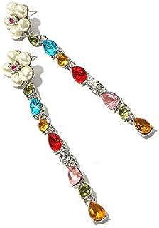 MONGHHF Earrings Style Cute Rhinestone Crystal Flower Earrings For Women New Fashion Sweet Charm Jewelry Accessories