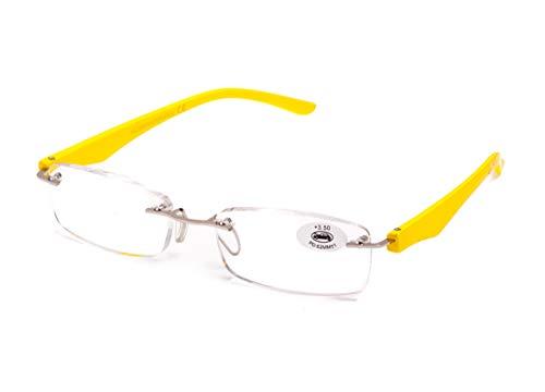 Gafas de Lectura Sin Montura Vista Cansada Presbicia,Gafas de Hombre y Mujer Unisex con Montura de Pasta, Bisagras Standard, Para Leer, Ver de Cerca (+1.5, Amarilla)