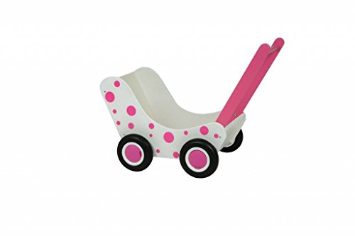 Van Dijk Toys Poppenwagen wit en roze stippen (flatpacked)
