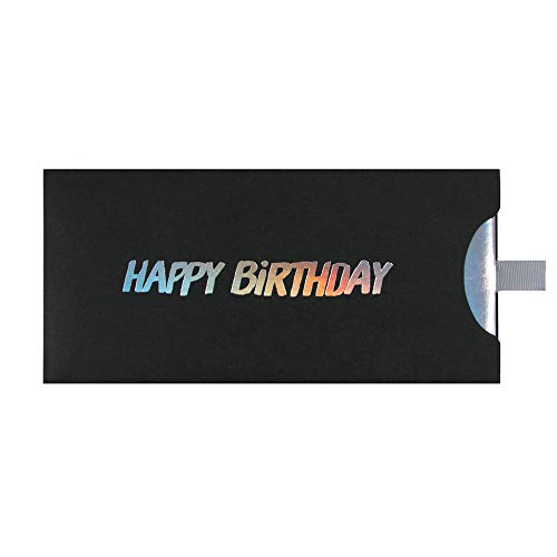 ARTEBENE Geschenkumschlag Geldgeschenke Gutscheine Happy Birthday | 23x11cm | schwarz