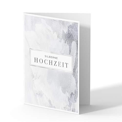 (20 x) Einladungskarten Silberne Hochzeit Silberhochzeit Hochzeitskarten 25 Jahre - Schatten