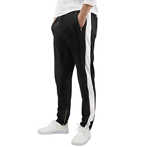 LONGBIDA Men's Gym Track Active Basic Pants Athletic Joggers Sweatpants(Black,S
