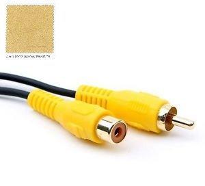 Cable Factory 【Amazon即日出荷】 RCA(黄/映像) 映像 変換ケーブル RCA(M) to RCA(F) ケーブル 写真 Photo AV ビデオケーブル GPS イエロー ケーブル オスーメス 約1M (コネクタ含む)+ F.Wave オリジナル レザー調 MicroFiber お手入れクロスセット RCA M-F CaY (イエロー) (約1M)