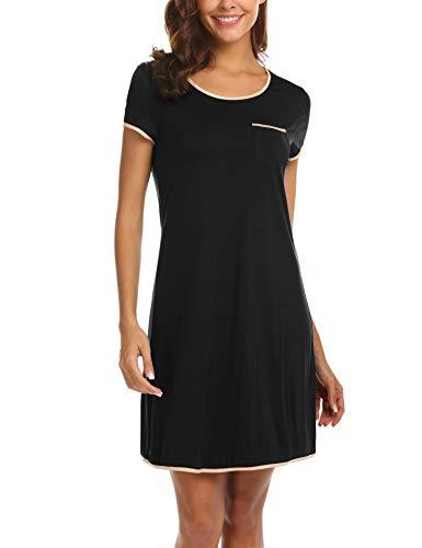 MAXMODA Damen Nachthemd Nachtwäsche Baumwolle Sleepshirt Kurzarm lässige Schlafshirt Nachtkleid Sleepwaer Mit Schwarz M
